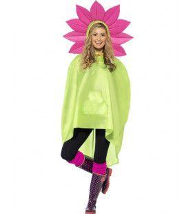 Hippie Bloemen Regen-Poncho Vrouw Kostuum