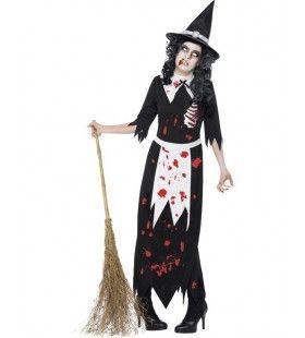 Volwassen Zombie Heks Met Boel Bloed Vrouw Kostuum