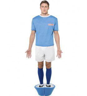 Blauwe Voetbalspel Pop Subbuteo Man Kostuum