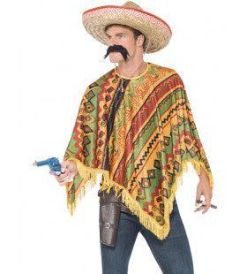 Mexicaanse Pistolero Poncho Verkleedset Man Kostuum