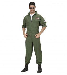 Top Gun Piloot Gevechtsvliegtuig Jumpsuit Groen Man Kostuum