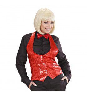 Dames Pailletten Vest Rood Vrouw