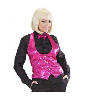 Dames Pailletten Vest Roze Vrouw
