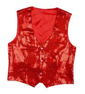 Showmaster Pailletten Vest Rood