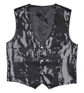 Showmaster Pailletten Vest Zwart