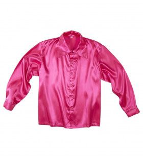 70s Disco Shirt Roze Satijn