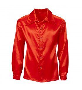 70s Disco Shirt Rood Satijn