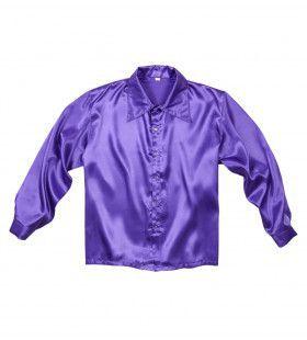 70s Disco Shirt Paars Satijn