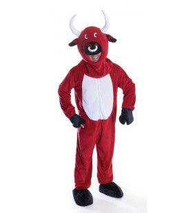 Rode Stier Groot Hoofd Man Kostuum