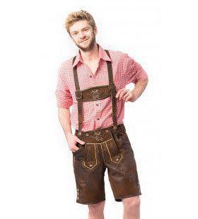 Lekker Biertje Lederhose Kort Donkerbruin Man Kostuum
