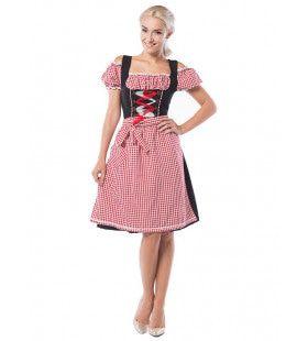Dirndl Dorothea Lang Rood / Zwart Vrouw Kostuum