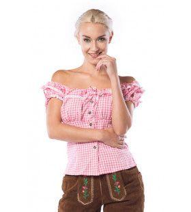Liesl Oktoberfest Blouse Roze / Wit Vrouw