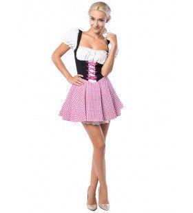 Schwaben Dirndl Donkerbruin / Roze Vrouw Kostuum