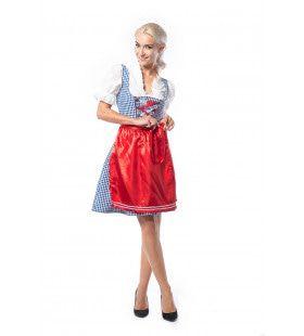 Dirndl Wendy Weissbier Blauw Rood Vrouw Kostuum