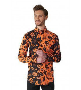 Halloween Icons Oranje Zwart Overhemd Man