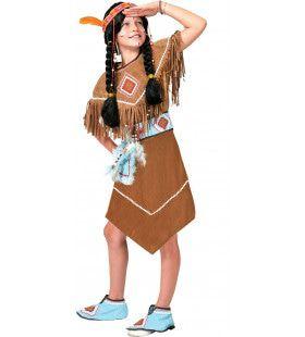 Bruine Indianen Jurk Anoki Strijder Meisje