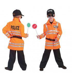Neon Oranje Politie Jongen Kostuum