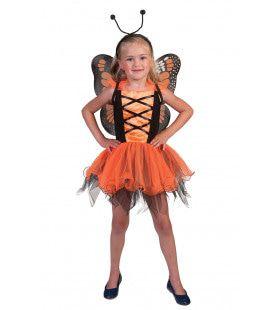 Oranje Vlinder Villeintje Meisje Kostuum