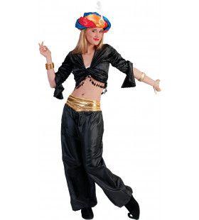 Jasmijn Topje Buikdanseres Zwart Vrouw Kostuum