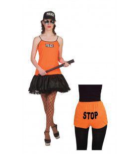 Neon Oranje Politie Vrouw Kostuum