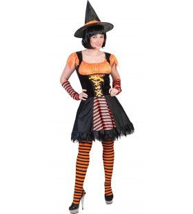 Oranje Heks Harrarira Vrouw Kostuum
