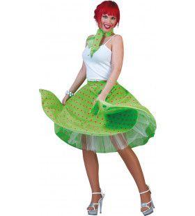 Rock N Roll Rok Groen-Rood Vrouw