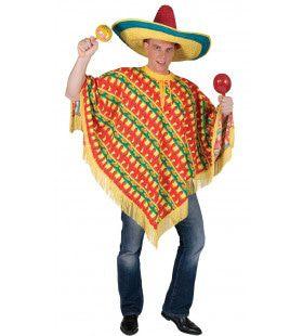 Orale Amigo Poncho Geel Groen Rood Kostuum