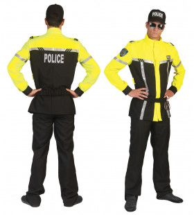 Neon Geel Politie Man Kostuum