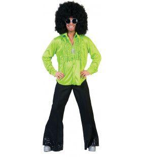 Zaterdag Disco Hemd Groen Man