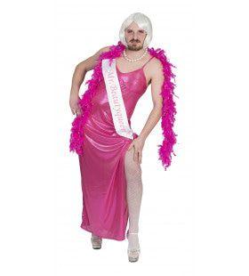 Travestiet Roze Jurk Man