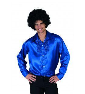 Blauw Ruche Hemd Man