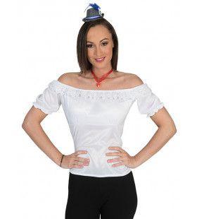 Kanten Kanton Tirol Shirt Wit Vrouw