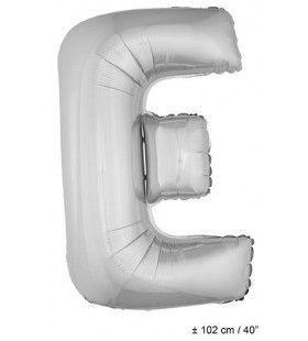 Letterballon E Zilver