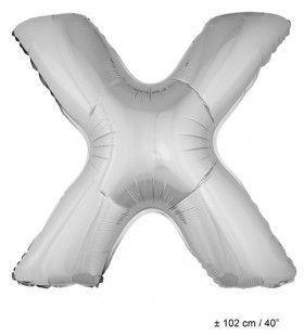Letterballon X Zilver