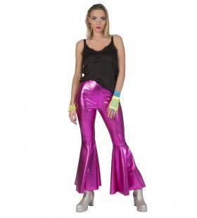 Disco Fever Broek Glimmend Roze Vrouw