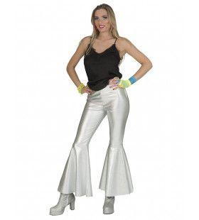 Disco Fever Broek Glinsterend Zilver Vrouw