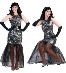 Zilveren Theater Diva Vrouw Kostuum