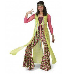 Neon Gele Cape Jas Hippie Vrouw