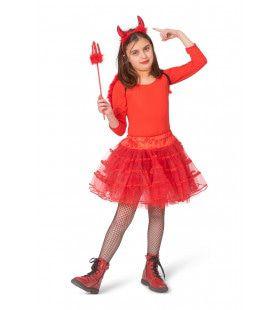 Duivelse Rode Tule Petticoat Meisje
