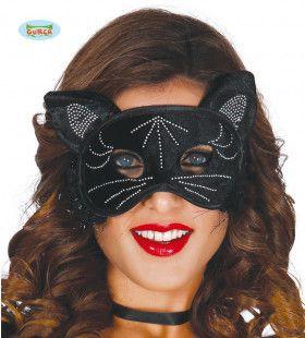 Zwarte Kat Oogmasker Met Glitters