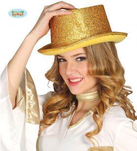 Glitter Hoge Hoed Goud Showgirl