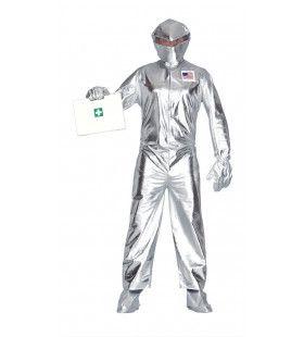 Zilver Ruimtevaart Man Kostuum