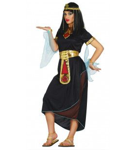 Egyptische Koningin Nefertiti Zwart Vrouw Kostuum