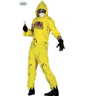 Gele Radioactieve Zombie Man Kostuum