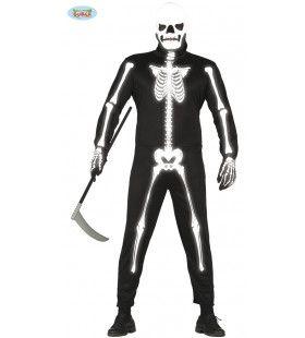 Lichtgevend Skelet In Het Donker Man Kostuum