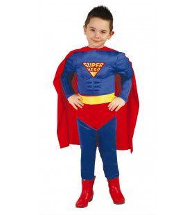 Gespierde Blauwe Superheld Jongen Kostuum