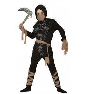 Zwart Als De Nacht Ninja Jongen Kostuum