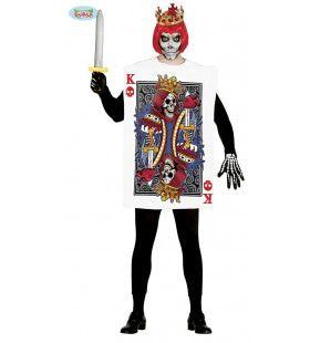Schedel Koning Kaartspel Man Kostuum