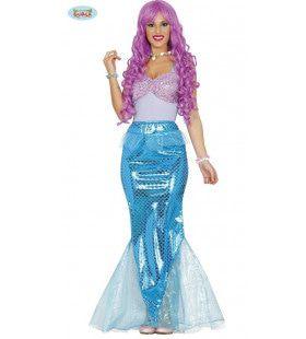 Spetterende Blauwe Zeemeermin Vrouw Kostuum