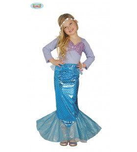 Spetterende Blauwe Zeemeermin Meisje Kostuum